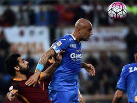 Empolis forward Massimo Maccarone (R) vies with Romas midfielder Mohamed Salah during the Italian Serie A football match October 17, 2015