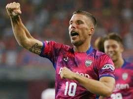 Les mots de Podolski aux supporters de Vissel Kobe. AFP