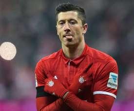 Lewandowski est à égalité avec CR7. AFP