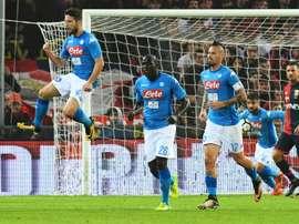 O Napoli venceu por 3-1 na receção ao Sassuolo. AFP