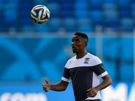 Samuel Etoo plays the ball during a training session at the Das Dunas stadium in Natal. AFP