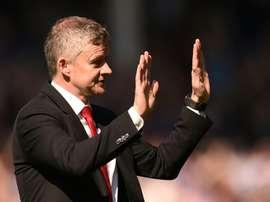 Hands up: Solskjaer's Manchester United were thrashed 4-0 by Everton. AFP