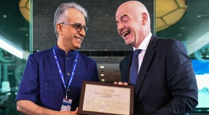 Infantino and AFC president Sheikh Salman bin Ebrahim al Khalifa pictured in April. AFP