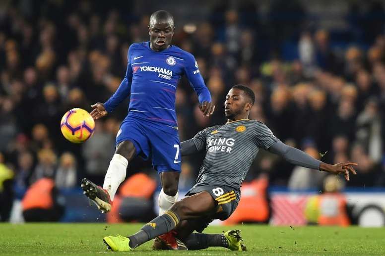N'Golo Kanté and Kelechi Iheanacho in action in the Premier League. AFP