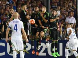 Mexico block a free kick during their 2015 CONCACAF Cup game against the US at the Rose Bowl in Pasadena, California on October 10, 2015