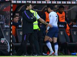 Tottenham's Son Heung-min storms away after being sent off at Bournemouth. AFP