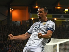 Artem Dzyuba scored as Russia beat Scotland 2-1. AFP