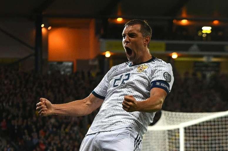 Artem Dzyuba scored as Russia beat Scotland 2-1. AFP