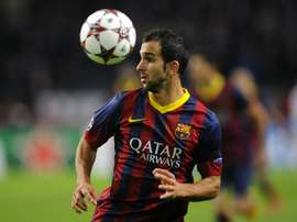 Barcelonas Spanish defender Martin Montoya looks to his side during the UEFA Champions League group H football match between Ajax Amsterdam and FC Barcelona at the Amsterdam Arena in Amsterdam on November 26, 2013