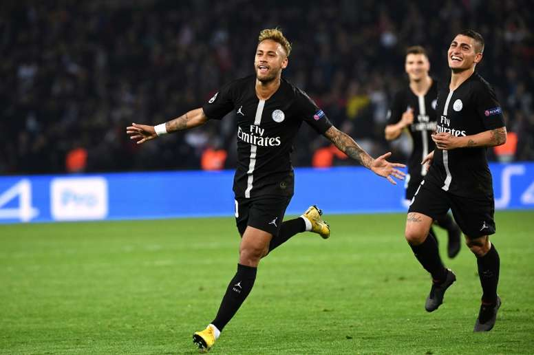 Neymar scored his second hat-trick for PSG. AFP