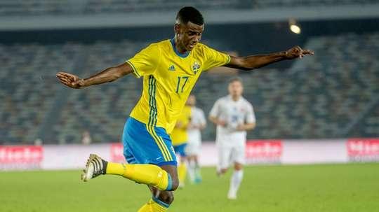 Alexander Isak playing for Sweden. AFP