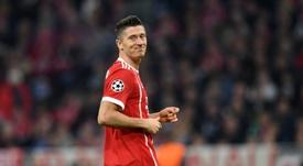 O polaco já apontou 11 gols, em 11 jogos, nesta edição da Bundesliga. AFP