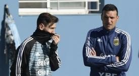 Messi apoyó públicamente a Lionel Scaloni. AFP