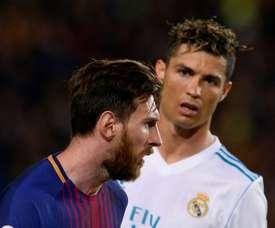 Messi e Cristiano, fora do pódio da UEFA pela primeira vez em uma década. AFP