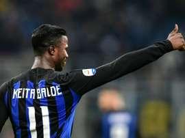 Keita Baldé está cedido por el Mónaco al Inter. AFP