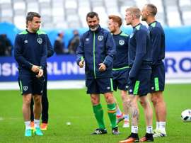 Roy Keane pictured with the Republic of Ireland squad. AFP