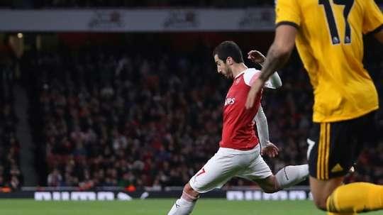 Henrikh Mkhitaryan pictured scoring their late equaliser. AFP