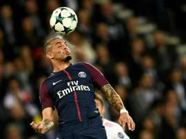 Kurzawa was injured in a collision with Arsenal's Olivier Giroud. AFP