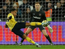 Pierre-Emerick Aubameyang scored his 13th goal of the season as Arsenal beat West Ham 3-1. AFP