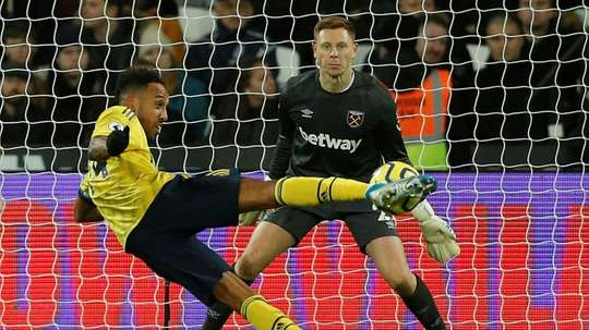 Pierre-Emerick Aubameyang scored his 13th goal of the season as Arsenal beat West Ham 3-1. AFP