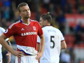 Gibson looks set to leave Boro for Burnley. AFP