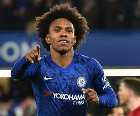 Willian found the target in Chelsea's 2-0 FA Cup win over Liverpool. AFP
