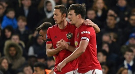 Harry Maguire (R) scored in Man Utd's victory over Chelsea. AFP