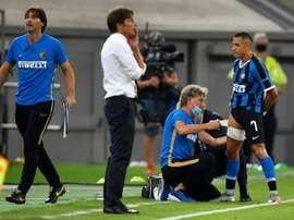 A Inter confirmou a lesão no bíceps femoral de Alexis Sánchez. AFP