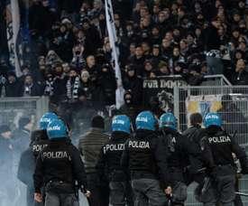 Five Frankfurt fans were arrested pre-match. AFP