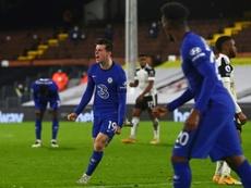 Mason Mount celebrates scoring against Fulham. AFP
