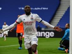 Karl Toko Ekambi scored in Lyon's 3-0 win versus Reims. AFP