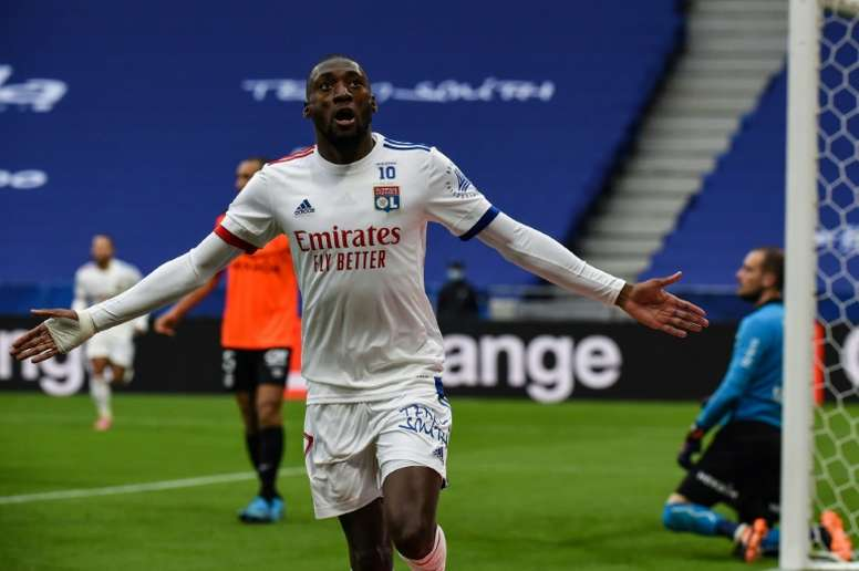 Karl Toko Ekambi scored in Lyon's 3-0 win versus Reims. AFP