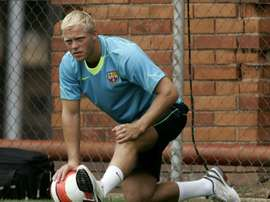 Former Barcelona player Eidur Gudjohnsen of Iceland attends a training session at the Camp Nou. AFP