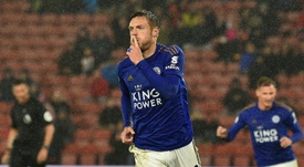 Leicester forward Jamie Vardy scored one of the two goals. AFP