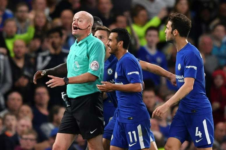 The Chelsea players weren't happy with the amount of stoppage time. AFP