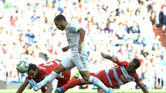 Contra o Granada, Eden Hazard marcou seu único gol pelo Real Madrid. AFP