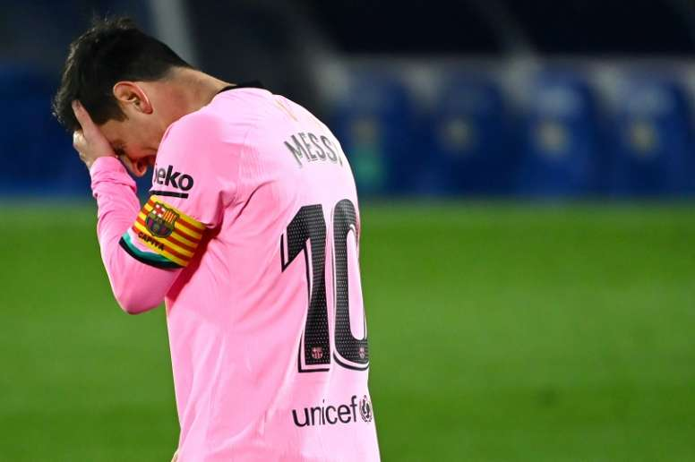 Lionel Messi disappointed as Barcelona lost 1-0. AFP
