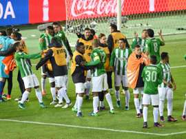 Atletico Nacional players celebrate winning the Club World Cup third-place playoff. AFP
