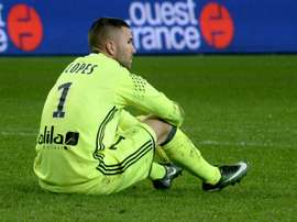 Lyons French-Portuguese goalkeeper Anthony Lopes reacts at the end of the game. AFP