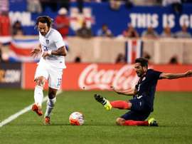 US midfielder Jermaine Jones (L) vies for the ball with Costa Ricas midfielder Celso Borges during their international friendly match at the Red Bull Arena in Harrison, New Jersey, on October 13, 2015