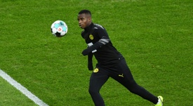 Youssoufa Moukoko warms up before making his Borussia Dortmund debut on Saturday. AFP