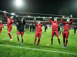 FC Midtjylland players celebrate after a Europa League game against Club Brugge in Herning. BeSoccer