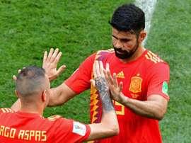 Costa has been replaced by Iago Aspas. AFP