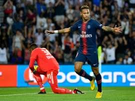 Neymar fue el mejor del PSG sin Cavani ni Mbappé. AFP