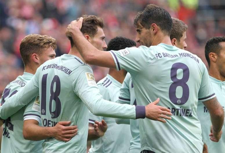 Thiago dio la victoria en el Opel Arena. AFP