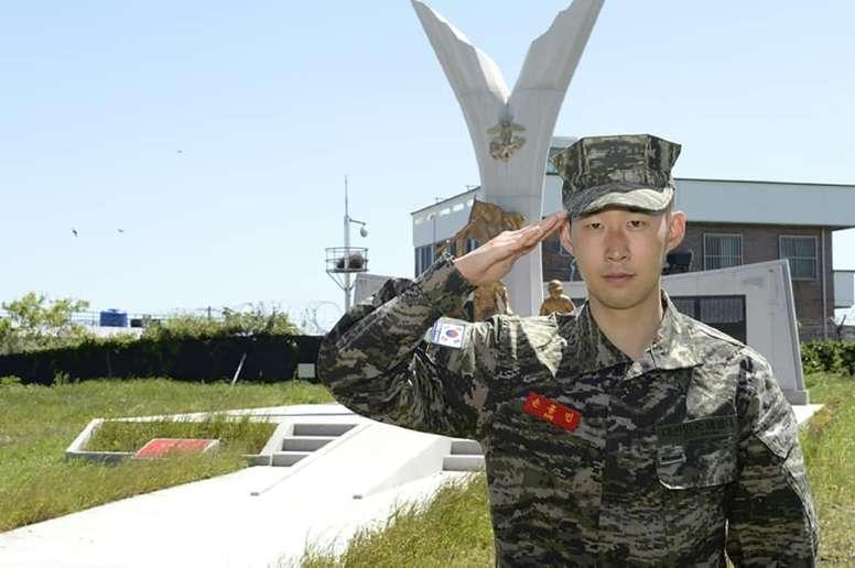 Tottenham's Son Heung-min did three weeks military service during corona break. AFP