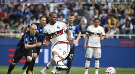 AC Milans forward from Brazil Luiz Adriano scores a penalty kick during the match against Atalanta on April 3, 2016 in Bergamo