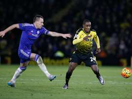 Watfords striker Odion Ighalo (R) takes on Chelseas defender John Terry (L) during the English Premier League football match in Watford, north of London on February 3, 2016