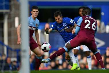 Beranrd scored the opener in Everton's win over West Ham. AFP