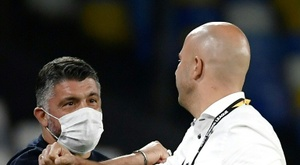 Gennaro Gattuso (L) has called for Napoli fans to wear masks. AFP